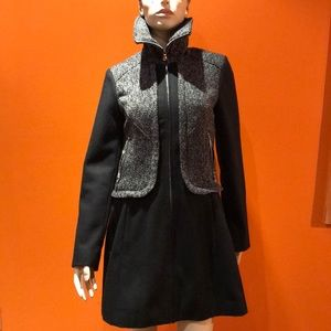 Adorable Guess Black Full Zip Wool Coat S